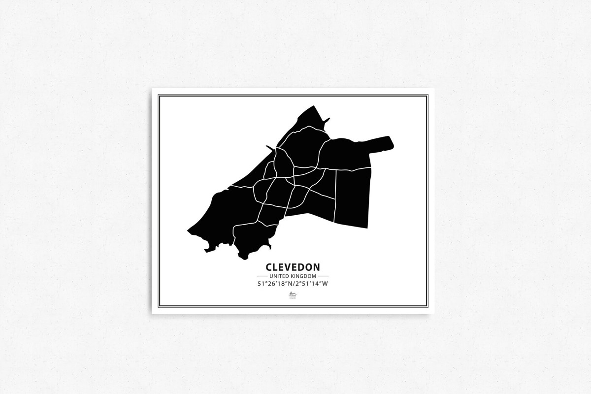 Mapa Clevedon black&white tablica