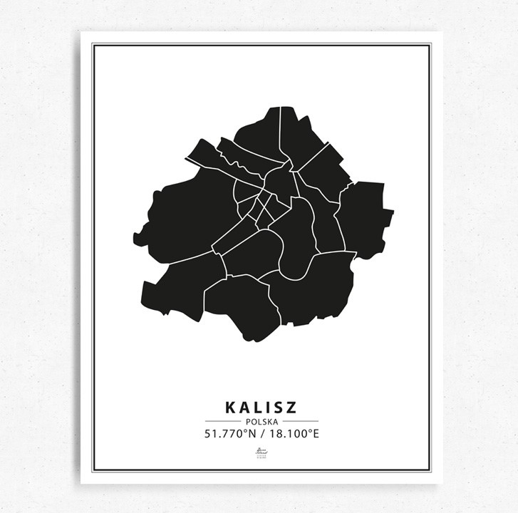 Mapa Kalisz black&white tablica