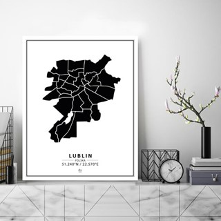 Mapa Lublin black&white tablica