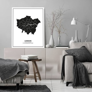 Mapa Londyn black&white tablica